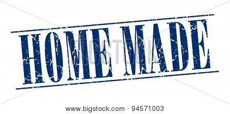 Home Made Blue Grunge Vintage Stamp Isolated On White Background