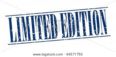 Limited Edition Blue Grunge Vintage Stamp Isolated On White Background