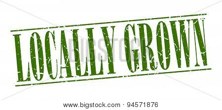 Locally Grown Green Grunge Vintage Stamp Isolated On White Background