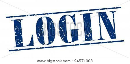 Login Blue Grunge Vintage Stamp Isolated On White Background