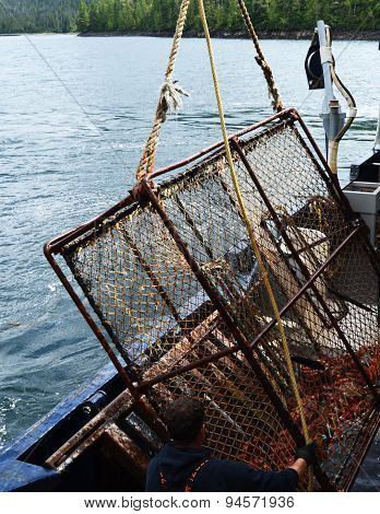King Crab Pot Raised by Hydraulic Lift