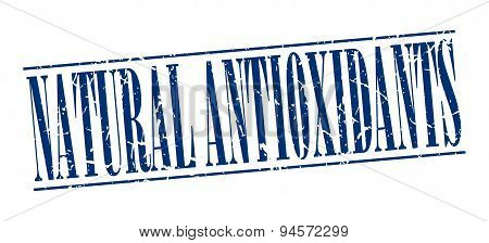 Natural Antioxidants Blue Grunge Vintage Stamp Isolated On White Background