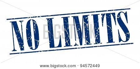 No Limits Blue Grunge Vintage Stamp Isolated On White Background