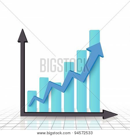 Business graph chart with blue rising arrow