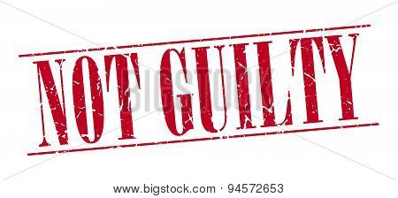 Not Guilty Red Grunge Vintage Stamp Isolated On White Background