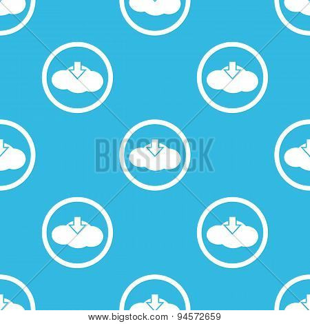 Cloud download sign blue pattern
