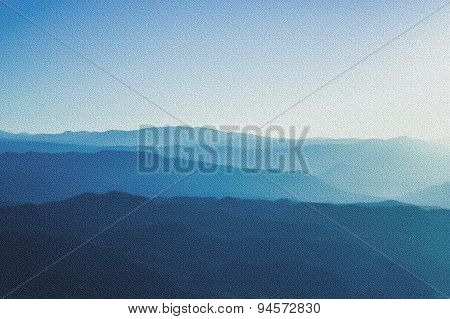 Blue Mountains With Sunlight In Wall Texture