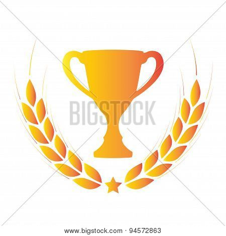 Trophy cup with laurel wreath. Award icon or sign.