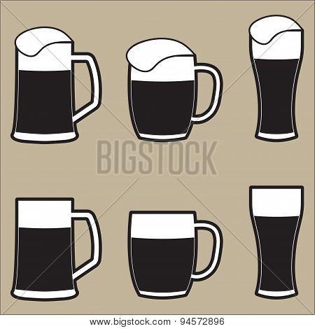 Beer mug o beer glass icons set. Vector.