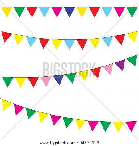 Bunting and garland set. Festive flags. Vector.