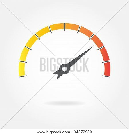Speedometer icon or sign with arrow. Gauge symbol.