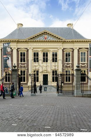 The Hague, Netherlands - May 8, 2015: Tourists Visit Mauritshuis Museum In The Hague