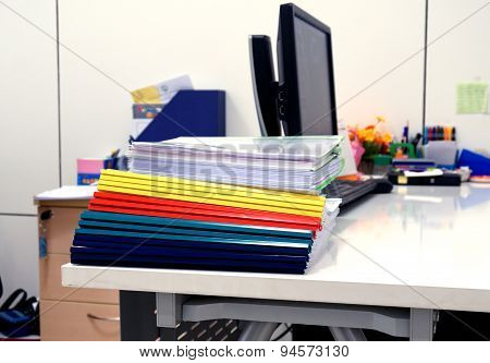 Stack Of Colorful Folders