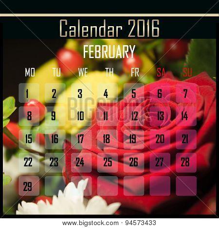 Floral 2016 Calendar Design For February
