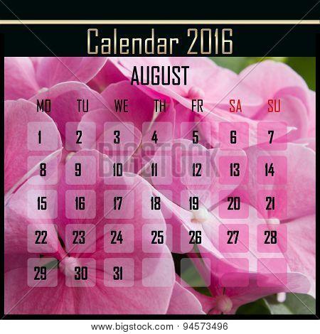 Floral 2016 Calendar Design For August
