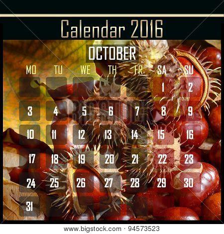 Floral 2016 Calendar Design For October