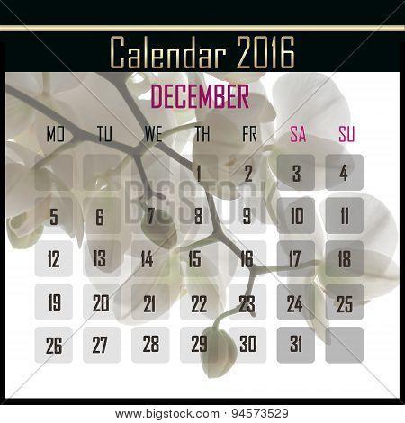 Floral 2016 Calendar Design For December