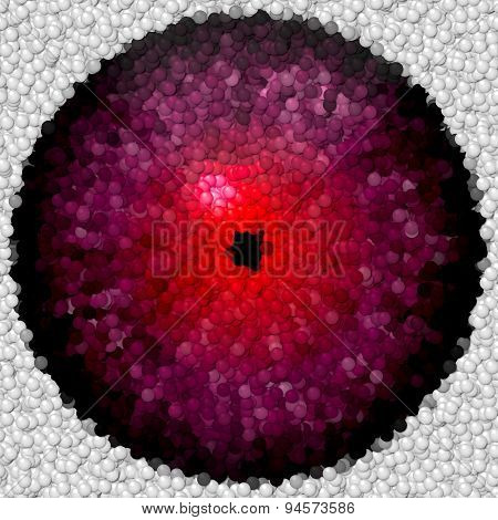 Violet Animal Or Alien Eye With Red Center And Narrow Pupil Made Of Bubbles Or Balls