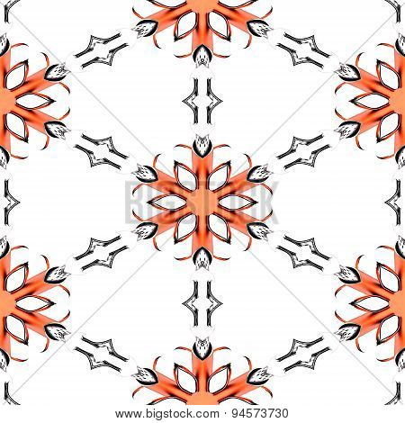 Seamless Abstract Red Chrome Metallic Snowflake Pattern