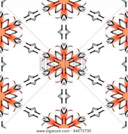 Seamless Abstract Red Chrome Metallic Snowflake Pattern