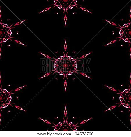 Abstract Seamless Red Frozen Snowflakes In Winter Texture Or Background