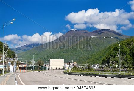 Highway In A Mountain Valley