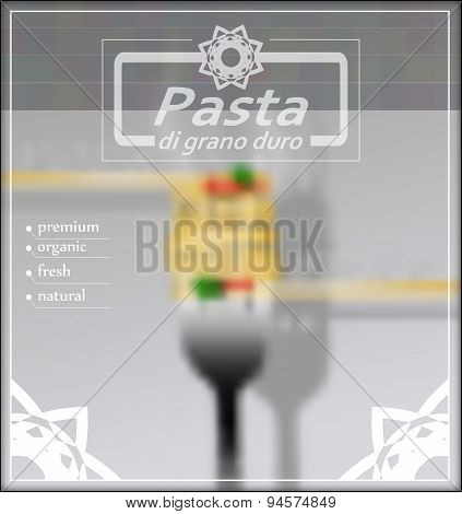Blurred Background With Spaghetti On A Fork. Vector Illustration.