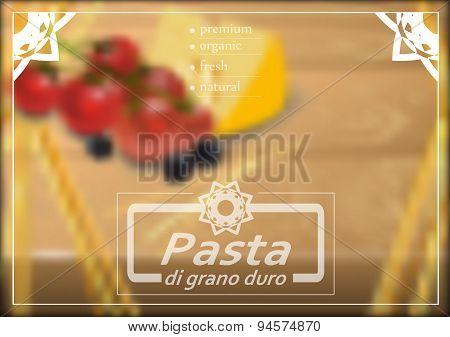 Vector Background Of Spaghetti With Cherry Tomatoes, Olives And Cheese.