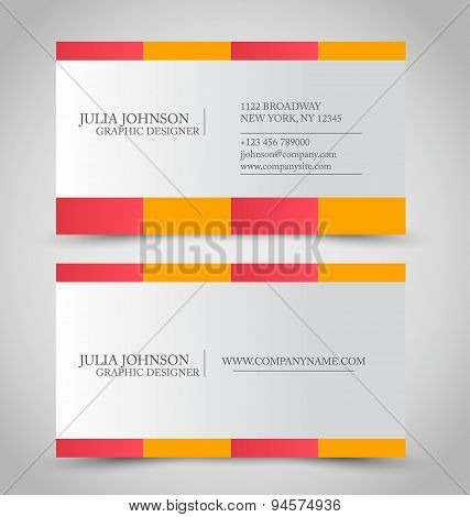 Business card set template. Pink and orange color.