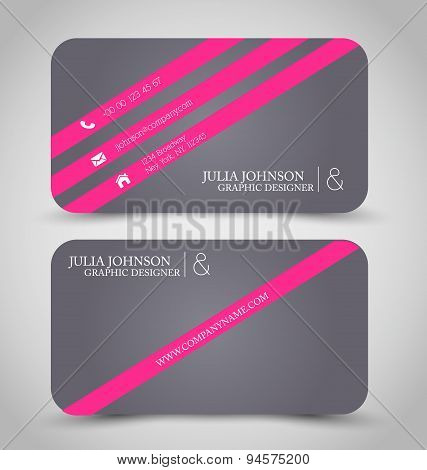 Business card set template. Grey and pink color.