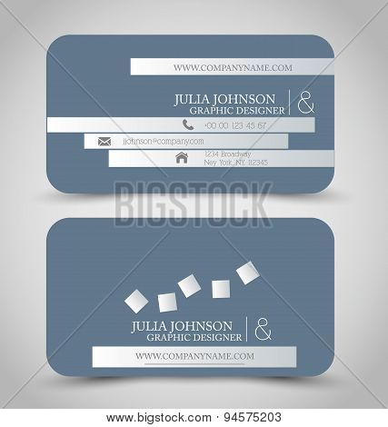 Business card set template. Grey color