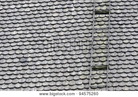 Roof Covered With Wooden Shingles And Stairs