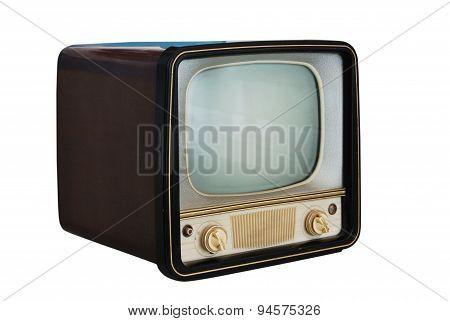 Old Vintage Television Set  On White