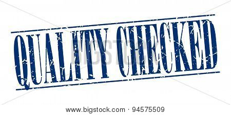 Quality Checked Blue Grunge Vintage Stamp Isolated On White Background