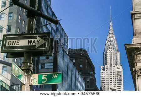 New York City Street Signs And Chrysler Building
