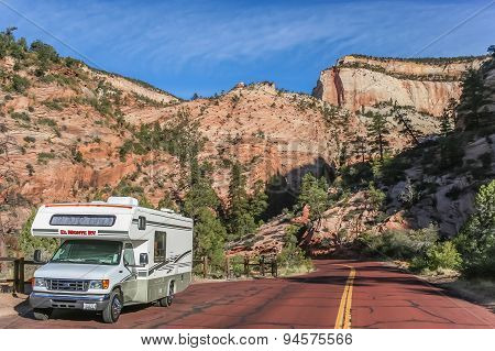 Motorhome Along A Road Through Zion National Park