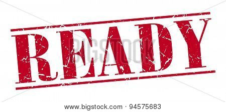 Ready Red Grunge Vintage Stamp Isolated On White Background