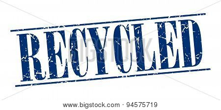 Recycled Blue Grunge Vintage Stamp Isolated On White Background