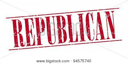 Republican Red Grunge Vintage Stamp Isolated On White Background
