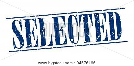 Selected Blue Grunge Vintage Stamp Isolated On White Background