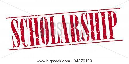 Scholarship Red Grunge Vintage Stamp Isolated On White Background