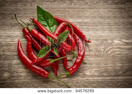 Red hot chili peppers and basil leaves on wooden background. Copy space, blank board