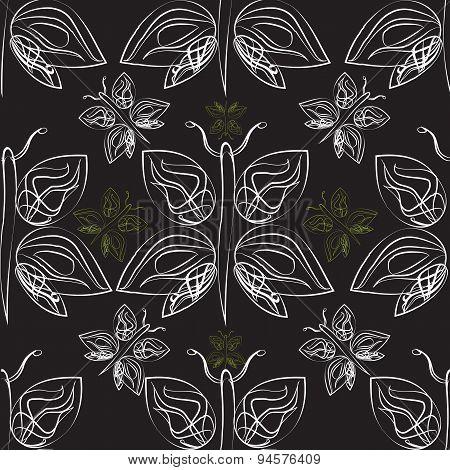 Monochrome Butterflies Seamless Pattern