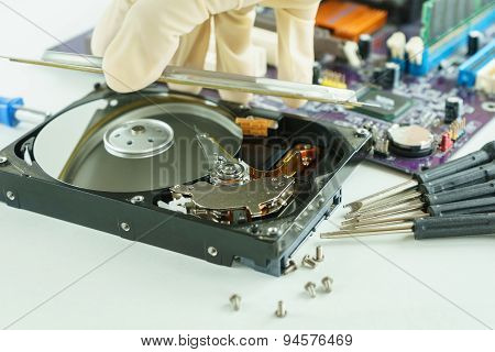 Pick Up And Open Hard Disk Drive For Repair Inside