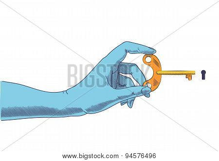 Hand Holding Key At Keyhole. Concept Illustration In Retro Drawing Style