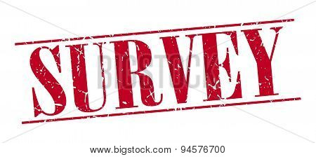 Survey Red Grunge Vintage Stamp Isolated On White Background