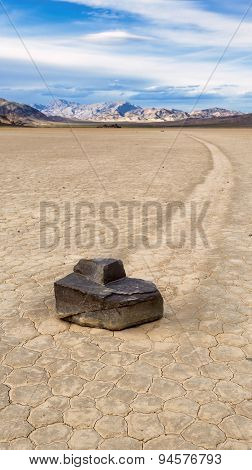 View of the Sailing stone in Racetrack, Death Valley