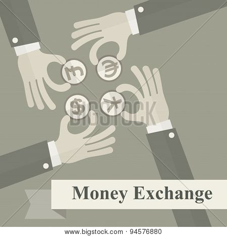 Hand Exchange Money Signs