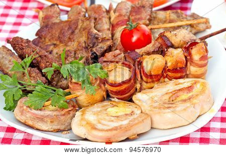 Grilled meat on plate