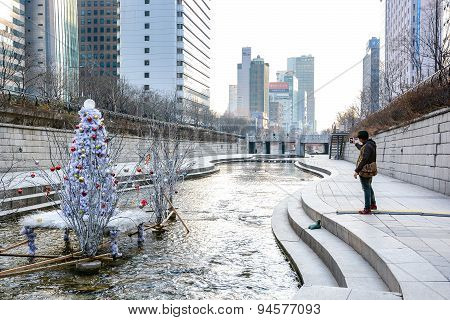 Cheonggyecheon Stream In Winter, Seoul, South Korea